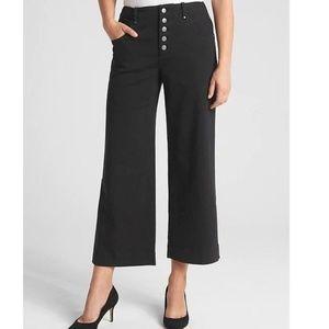 NWT Gap High Rise Crop Wide Leg Pants 8 Black v290
